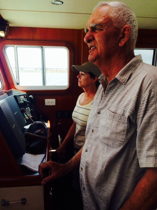 Our neighbor let me drive  his 35 foot trawler today down our narrow channel.  I'm glad no warships were on the move!