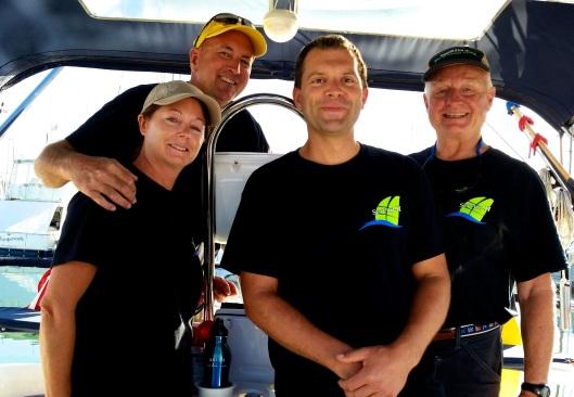 The crew of Sereno II.  Cindy, Gary, Greg and Richard