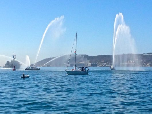 Harbor Police Fire Boats gave us a great send off