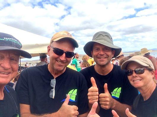 A selfie at Bahia Santa Maria.  Greg had just finished climbing a mountain.  Richard, Gary and I, NOT lol