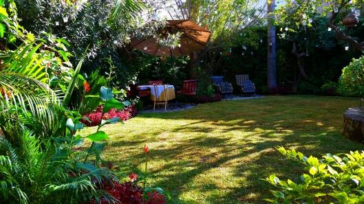 The outdoor garden at Villa Ganz