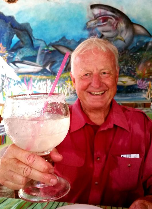 Good food, a large Margarita made for a very happy sailor!  Richard in La Cruz
