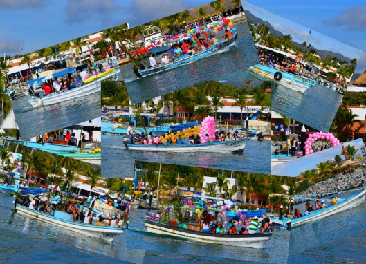 Fishing boats decorated for a parade from La Cruz to Bucerias