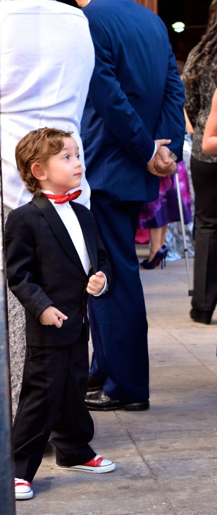 The red sneakers match his bow tie.  What a cutie