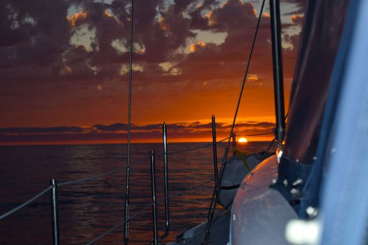 The setting sun on our overnight passage right after the whale show