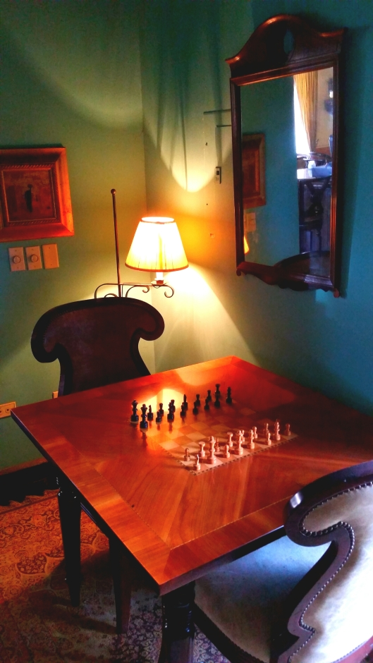 In addition to books, the library at the inn had a TV and a chess board waiting to be played