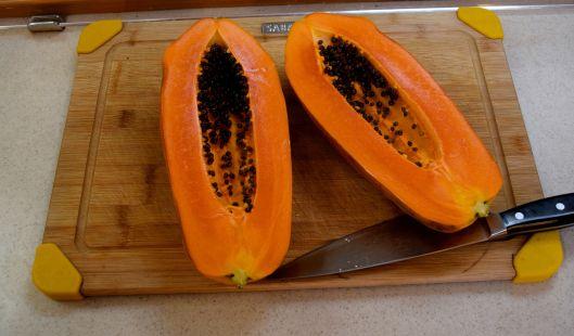 Fresh papaya for breakfast