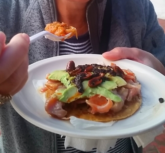 Sea Urchin, Sea Snail, avocado, hot and spicy salsa and roasted almond tostada.  Excellent!