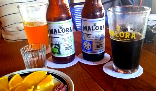 We found 'Artisanal' beer along with a shot of mezcal