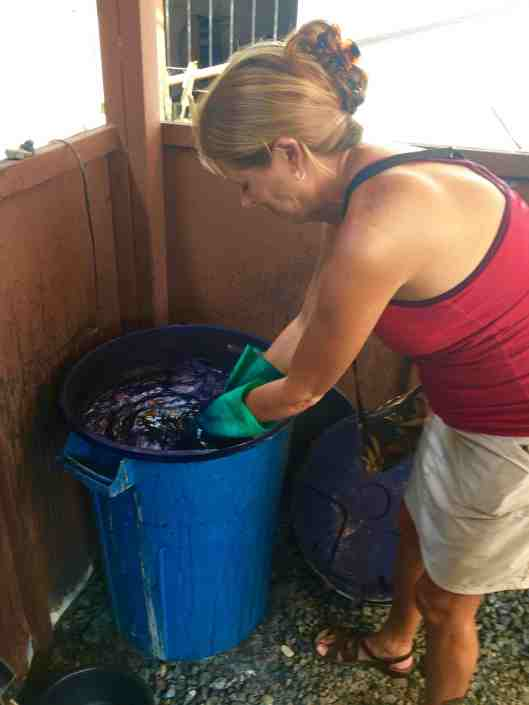 So I volunteered to stir all our scarves in the vat.  This vat was six years old and contained live bacteria.  Yes, it smelled yucky.  And yes, I did get it on my favorite skirt :(