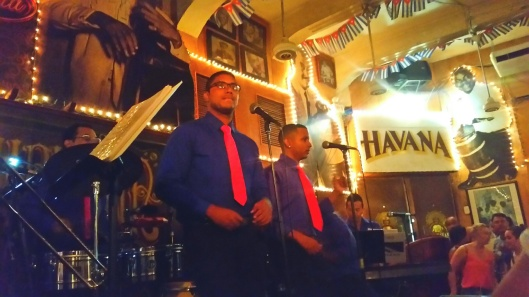 Havana Club 8 piece band with 2 lead singers.  All dressed in blue shirts and pink ties.  No torn jeans and t-shirts here.