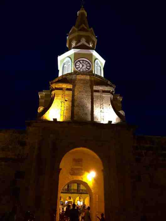 The Clock Tower gate is the main entrance to the walled city.  Completed in 1631 this was the only entrance to the walled city from Getsemani via a drawbridge over a moat.