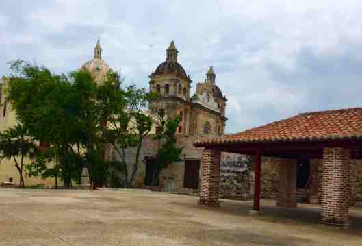 The church in the background is San Pedro Claver Church completed in the first half of the 18th century.