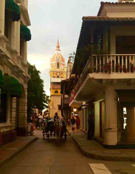 Walking the streets in old town was a bit of a challenge.  The sidewalks were narrow forcing you into the street.  But then we were dodging not only cars but horse and carriages.  Pedestrians DO NOT have the right of way anywhere in Cartagena.  I almost got taken out by a police motorcycle!