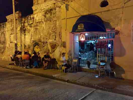 We choose to stay right outside the wall in Getsemani.  This is a residential area with many restaurants and bars.  Here is one restaurant right off the square.  Would have loved to have stayed here longer.