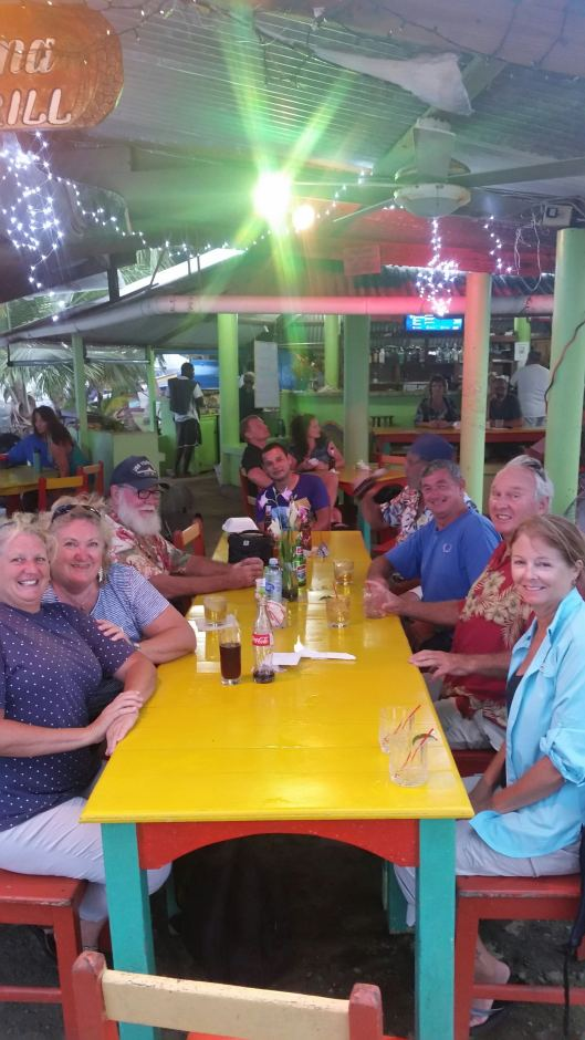 Our fellow cruisers from Red Frog Marina enjoying BBQ night at the Calypso Cantina in Bocas Town. Karen, Liz, Gary, Rich, Rex, Dave, Craig, and Cindy (l to r).
