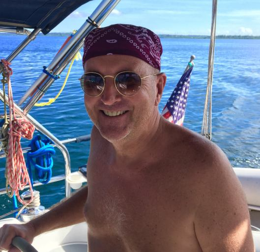 Gary in his typical sailing attire.  But is he Au Naturel?