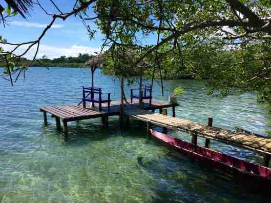 A nice place to sit and watch the sea life as well as the local families paddling by in their canoes.
